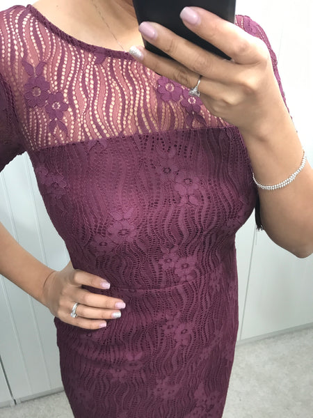 Grace Burgundy Lace Dress by SUGARHILL BOUTIQUE - SWALK Fashion