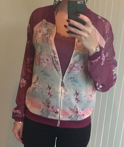 Lightweight Floral Pattern Bomber Jacket by SMASH - SWALK Fashion