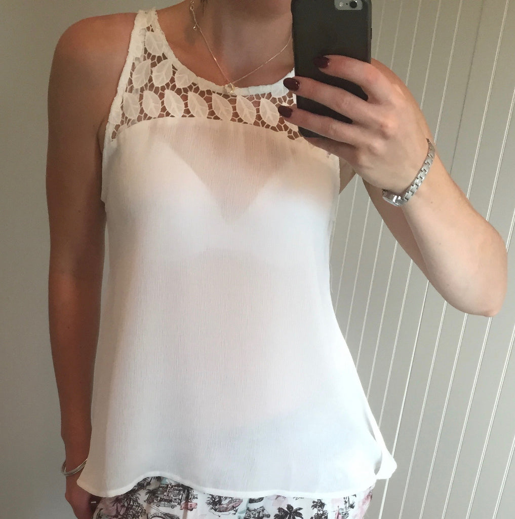 White Cami Top with Lace Neck Detail by SMASH - SWALK Fashion
