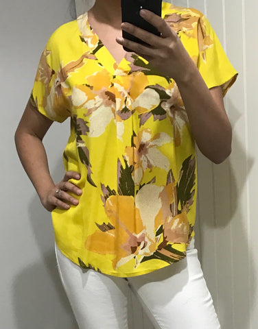 Yellow Floral Pattern Short Sleeve Shirt by ICHI - SWALK Fashion