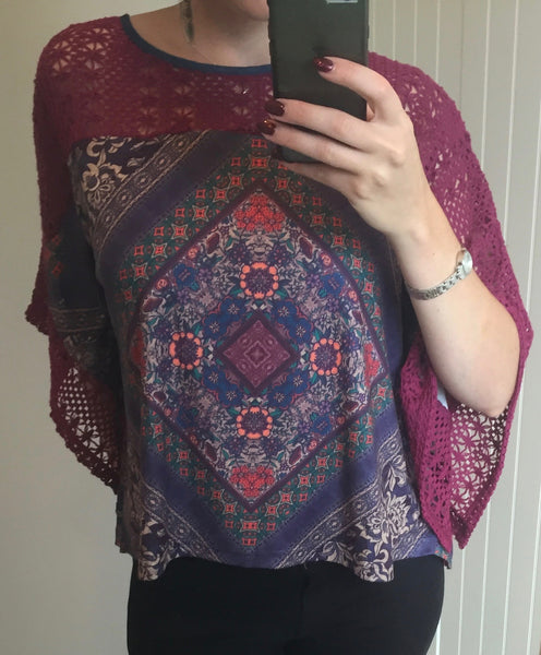 Purple Floral Pattern Kimono Top with Knitted Shoulder by SMASH - SWALK Fashion