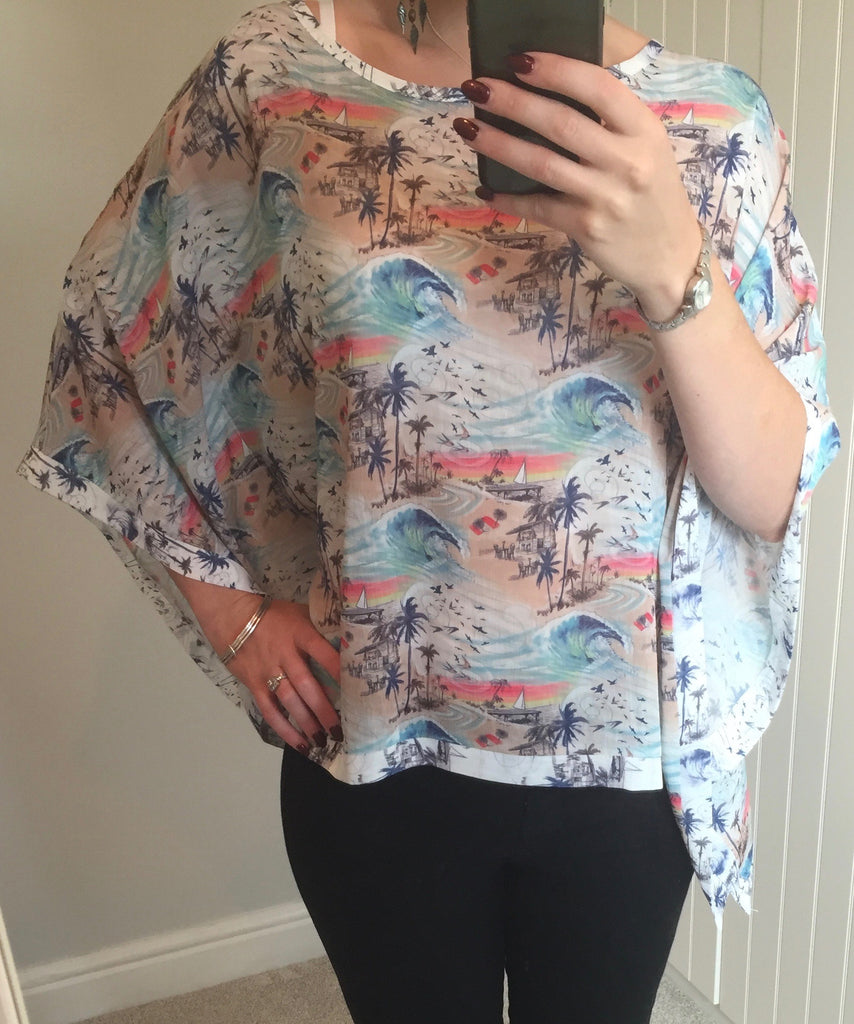 Hawaii Print Kimono Top by SMASH - SWALK Fashion