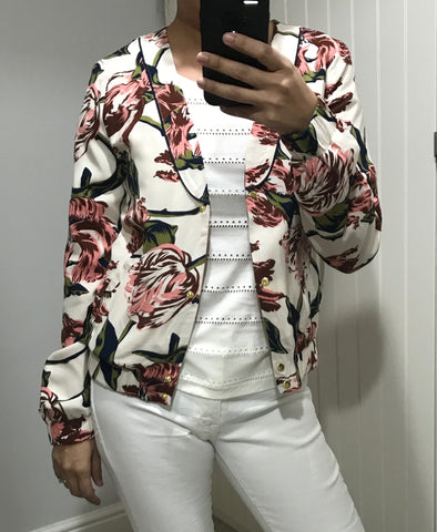 Floral Print Tamira Jacket by ICHI - SWALK Fashion
