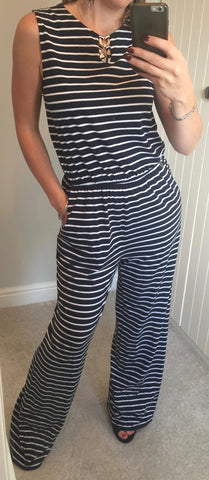 Navy and White Striped Jumpsuit with Gold Detail by SMASH - SWALK Fashion