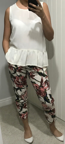 Floral Print Tamira Cropped Trousers by ICHI - SWALK Fashion