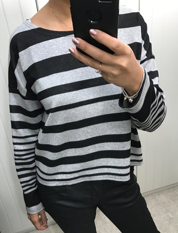 Black & Grey Stripe Top by MOUTAKI - SWALK Fashion
