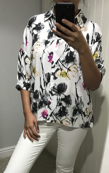 Isolda White & Floral Shirt by ANONYME - SWALK Fashion