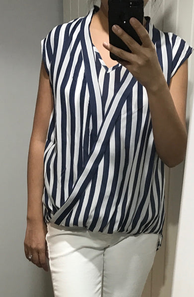 Midnight Blue and White Sleeveless Top by NU DENMARK - SWALK Fashion