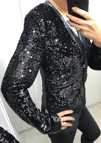 Black Sequin Jacket with Faux Leather Detail by SILVIAN HEACH - SWALK Fashion