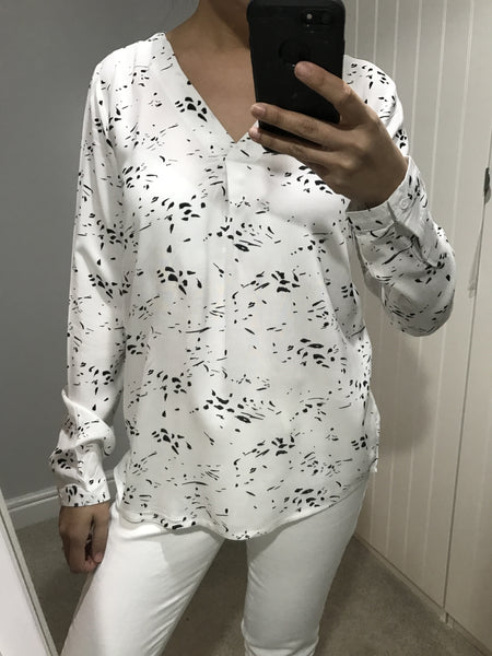 White and Black Patterned Long Sleeve Top by ICHI - SWALK Fashion