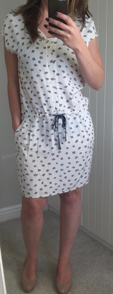White Patterned Dress with Blue Drawstring Tie by NUMPH