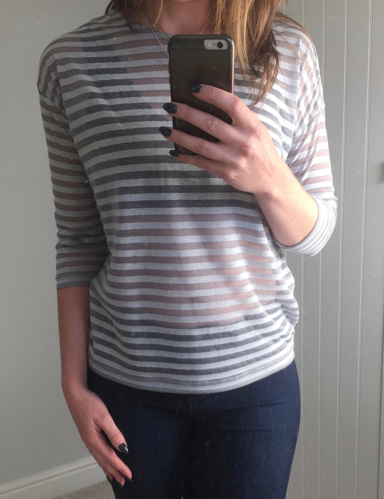 Sheer Limestone Striped Top by NUMPH