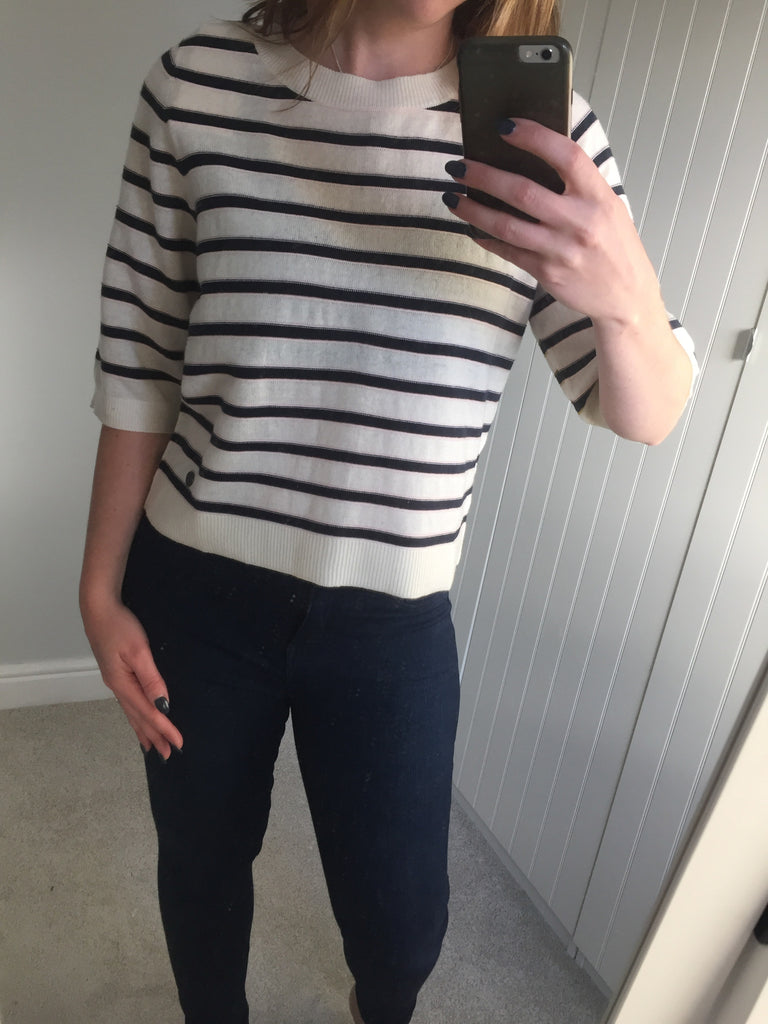 Cream & Navy Striped Pullover With Back Zip Detail by NUMPH - SWALK Fashion