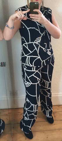 Leikny Patterned Dark Sapphire Trousers by NUMPH - SWALK Fashion