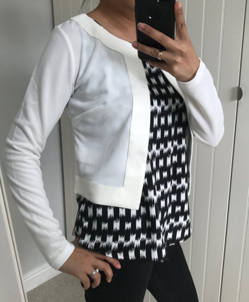 White Cropped Jacket with Faux Leather Detail by ICHI