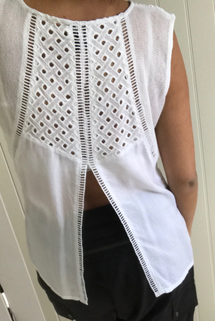 White Cut Out Detail Open Back Top by NU DENMARK - SWALK Fashion