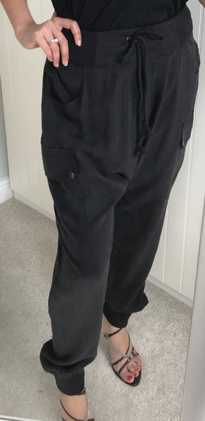 Black Baggy Casual Trousers by NU DENMARK - SWALK Fashion
