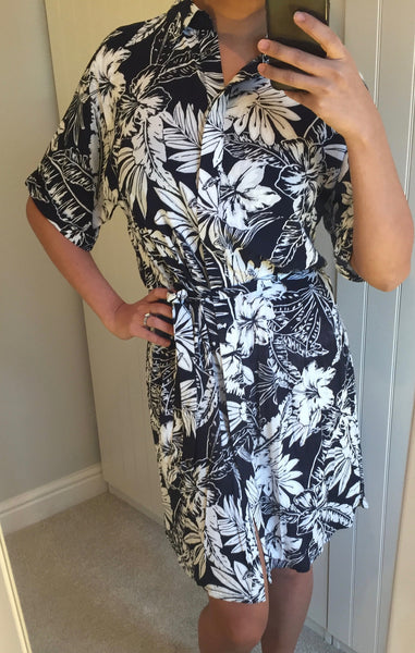 Laria Roll Sleeve Palm Print Shirt Dress by SUGARHILL BOUTIQUE - SWALK Fashion