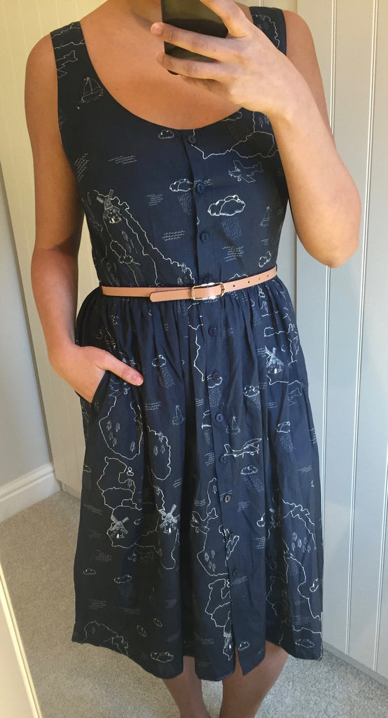 Beatrice Map Pattern Cotton Sundress by SUGARHILL BOUTIQUE SWALK