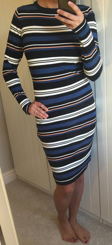 Black, Cream and Blue Zoe Stripe Knitted Dress by SUGARHILL BOUTIQUE - SWALK Fashion
