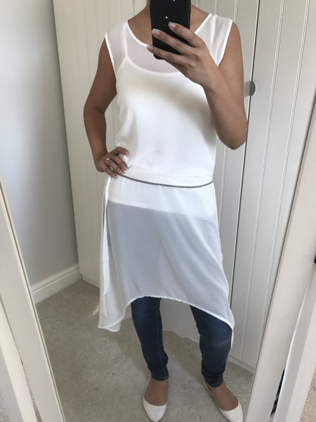 White Sheer Dipped Hem Dress by NU DENMARK