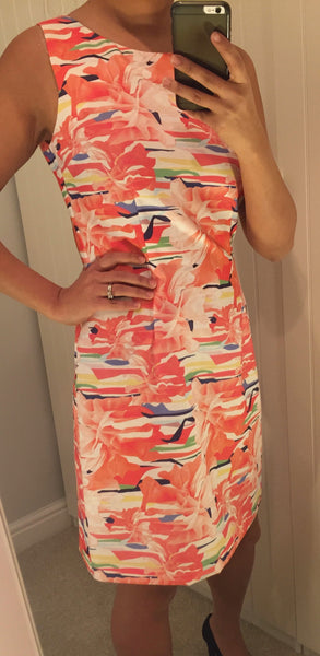 Patterned Coral Shift Dress by LAVAND - SWALK Fashion