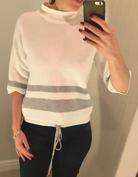 100% Organic Cotton White Pullover with Grey Stripes by ARMEDANGELS - SWALK Fashion