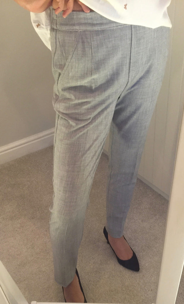 Grey Trousers with Silver Detail by GRACE & MILA - SWALK Fashion