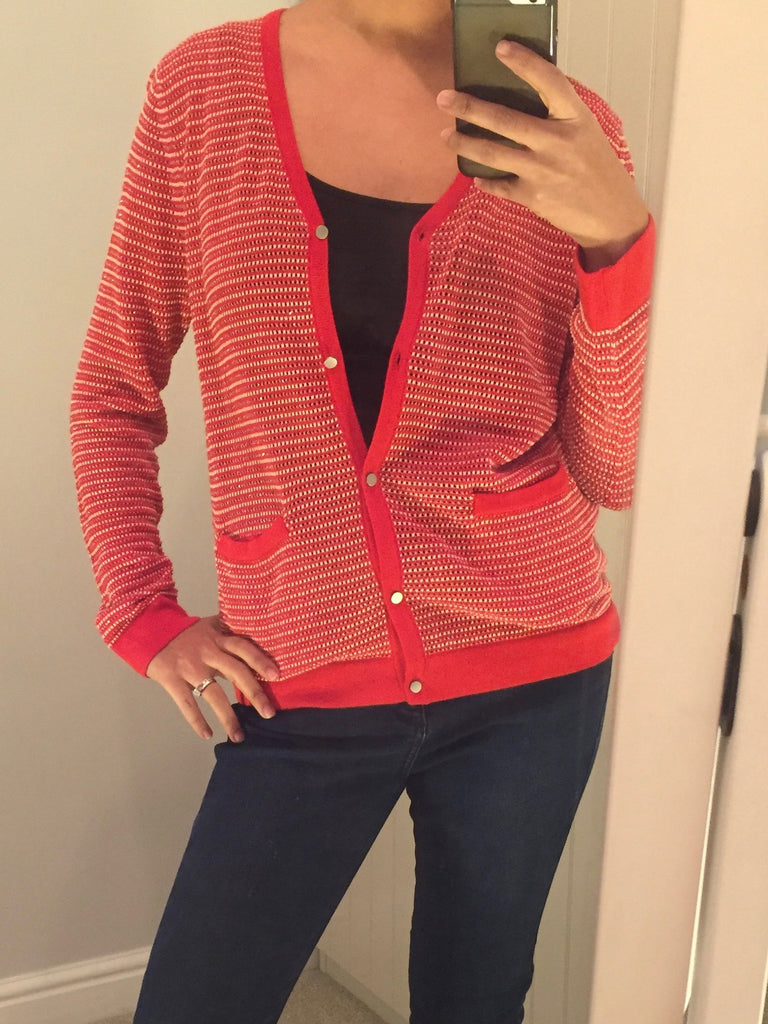 Red and Silver Sparkle Striped Buttoned Cardigan by GRACE & MILA - SWALK Fashion