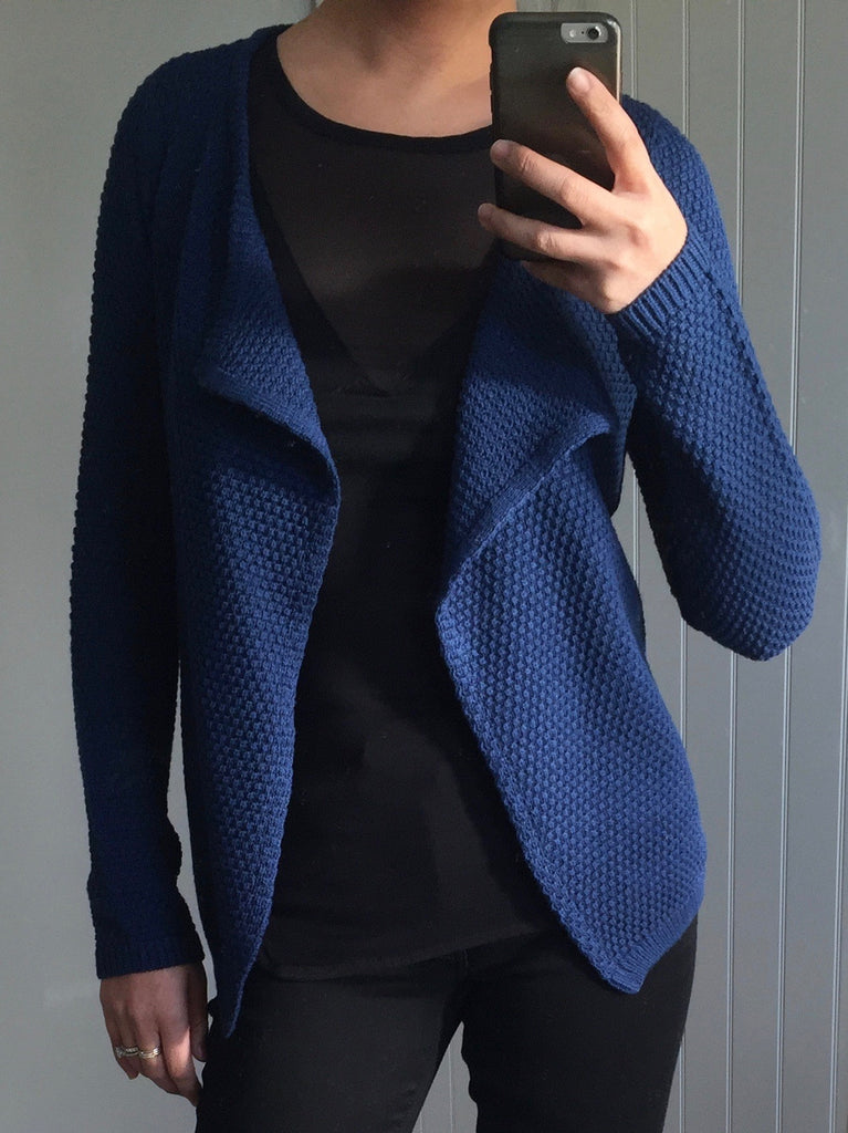 Long Sleeve Blue Waterfall Cardigan by ICHI - SWALK Fashion