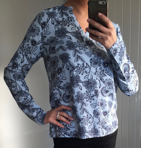Blue Floral Patterned Long Sleeve V-Neck Top by ICHI - SWALK Fashion