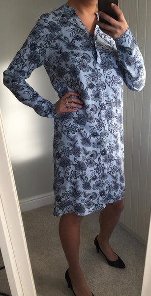 Floral Patterned Long Sleeve Dress by ICHI - SWALK Fashion