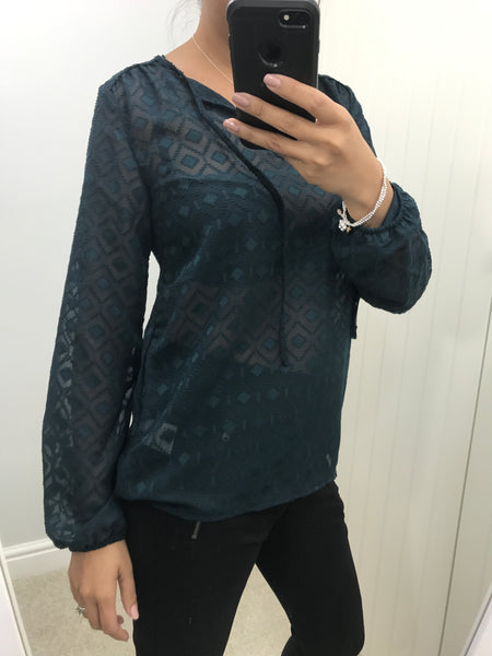 Teal Sheer Patterned Blouse with Tie Detail by SOYACONCEPT - SWALK Fashion