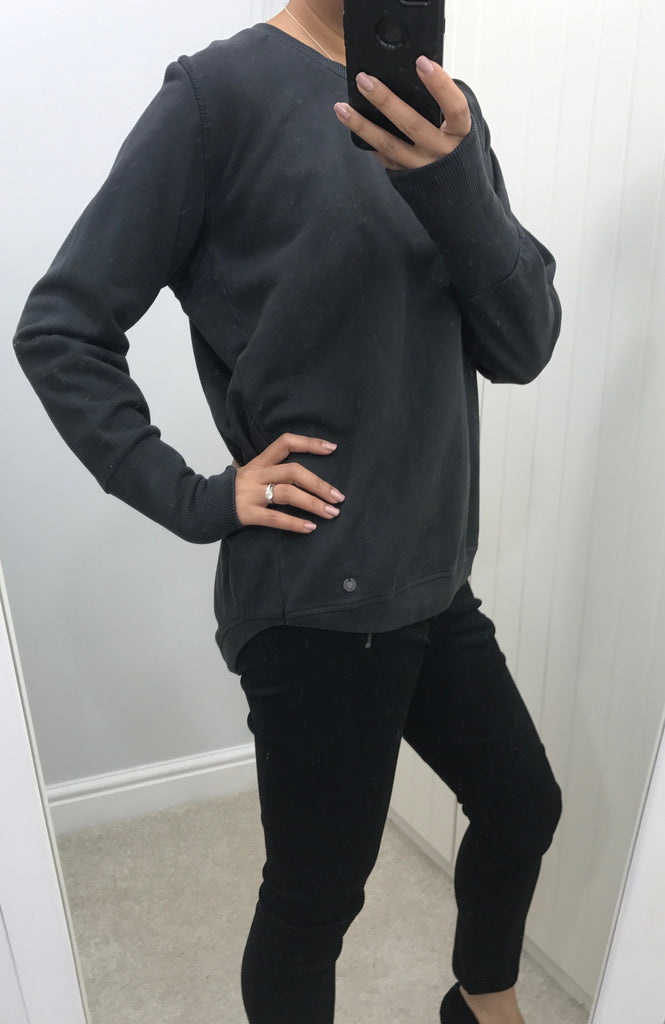 Dark Grey Dipped Hem Nikola Sweater with Long Wrist Cuff by NUMPH - SWALK Fashion