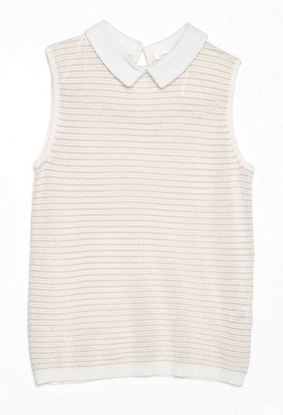 Cream and Rose Gold Sparkle Striped Sleeveless Top by GRACE & MILA - SWALK Fashion