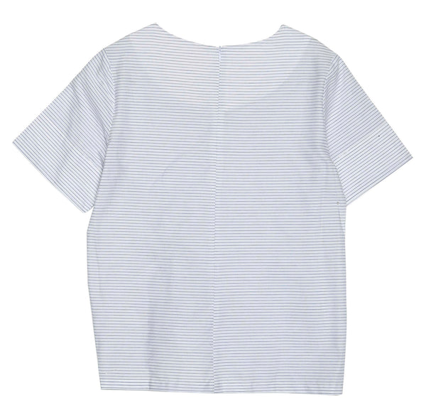 White with Blue Striped Knot Detail Cotton T-Shirt  by GRACE & MILA - SWALK Fashion