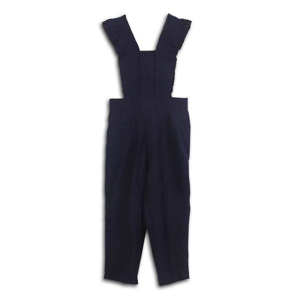 Navy Malta Ruffle Dungarees by CUBIC - SWALK Fashion