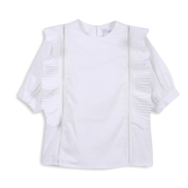 White Menorca Ruffle Top by CUBIC