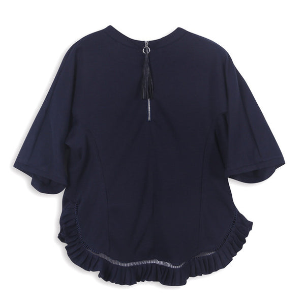 Navy Montpellier Frill Top by CUBIC - SWALK Fashion