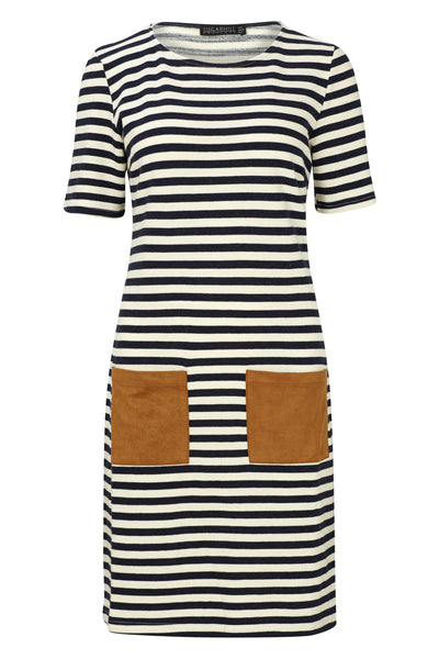 Navy and White Cheryl Stripe Tunic Dress by SUGARHILL BOUTIQUE - SWALK Fashion