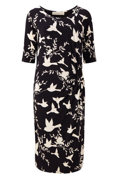 Black and White Jenna Bird Twist Jersey Dress by SUGARHILL BOUTIQUE - SWALK Fashion