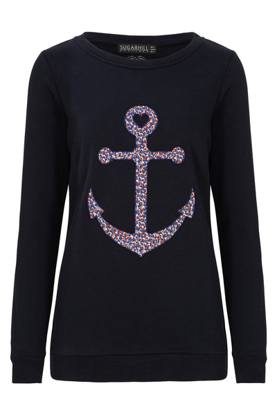 Navy Floral Anchor Sweater by SUGARHILL BOUTIQUE - SWALK Fashion