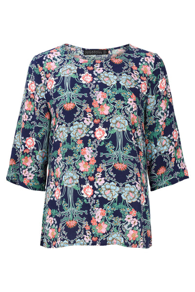 Navy Dania Mirrored Floral Top by SUGARHILL BOUTIQUE - SWALK Fashion