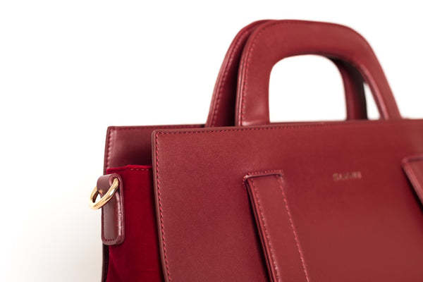 Large Red Leather Effect with Velvet Detail Bag by SILVIAN HEACH - SWALK Fashion