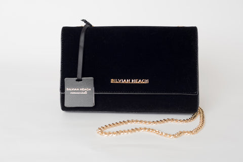 Black Velvet Shoulder Bag with Gold Chain by SILVIAN HEACH - SWALK Fashion