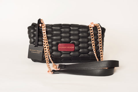 Black Quilt Effect Shoulder Bag with Rose Gold Chain by SILVIAN HEACH - SWALK Fashion