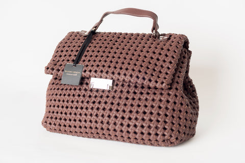 Large Brown Woven Leather Effect Bag by SILVIAN HEACH - SWALK Fashion