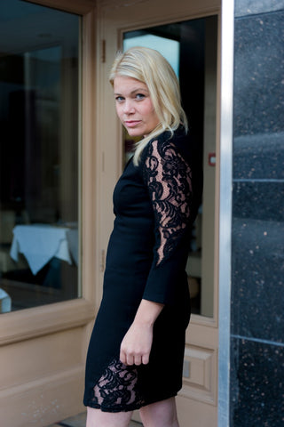 3/4 Sleeve Black Lace Detail Dress by SILVIAN HEACH - SWALK Fashion
