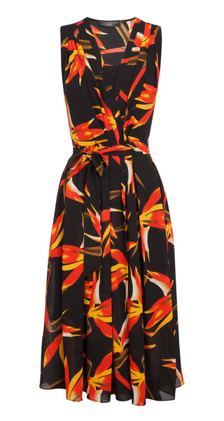 Black with Red & Orange Floral Print Dress by ANONYME - SWALK Fashion