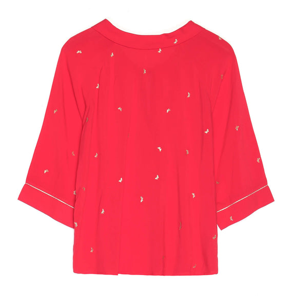 3/4 Sleeve Red Top with Gold Butterflies by GRACE & MILA - SWALK Fashion